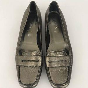 Prada Loafers Sz 39.5 9.5 Pewter Metallic Leather